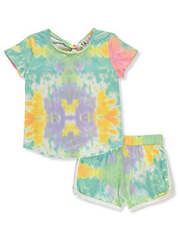 Girls' 2-Piece Tie-Dye Short Set Outfit by Poof Girl in Green/multi