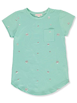 Girls' Star T-Shirt by Poof Girl in Mint, Girls Fashion