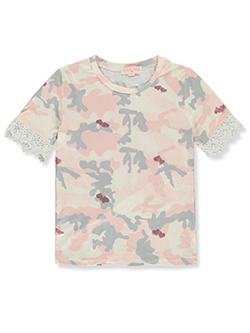 Girls' Camo Hearts T-Shirt by Poof Girl in Pink, Girls Fashion