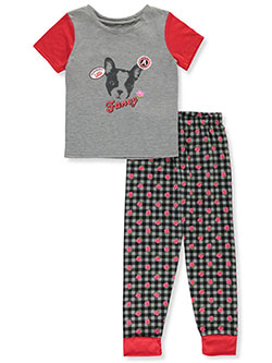 Girls' Fancy Dog 2-Piece Pajamas by Sleep & Co in Multi, Sizes 7-16
