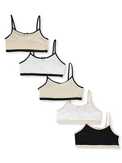 Girls' 5-Pack Sports Bras by Sweet Princess in alom and pink/multi