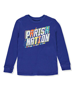 Boys' Bold Logo L/S T-Shirt by Parish Nation in Royal blue