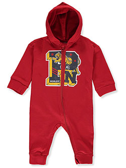 Tiger Logo Hooded Coverall by Parish Nation in Red