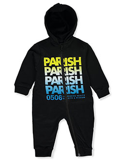 Repeat Logo Hooded Coverall by Parish Nation in Black