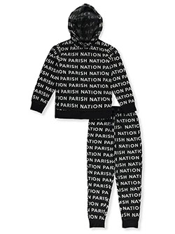 Text Print 2-Piece Sweatsuit Outfit by Parish Nation in black, gray and red, Boys Fashion