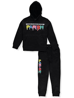 Boys' Drip 2-Piece Sweatsuit Outfit by Parish Nation in Black, Boys Fashion