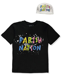 Boys' Toon Logo T-Shirt & Hat Set by Parish Nation in black and white