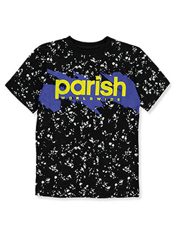 Boys' Splattered Logo T-Shirt by Parish Nation in black and royal blue