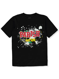 Boys' Paint Splatter Logo T-Shirt by Parish Nation in Black