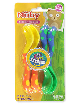 Fun Feeding Spoons & Forks 2-Pack by Nuby in orange/blue and purple/blue