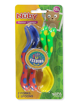 Fun Feeding Spoons & Forks 2-Pack by Nuby in blue/yellow and yellow/green