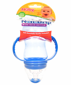 Wide Neck 3-Stage Nurser Set by Nuby in blue, lime, mint, orange and purple