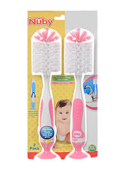 Baby 2-Pack 2-In-1 Bottle Brushes With Suction Base by Nuby in blue, green, mint and pink