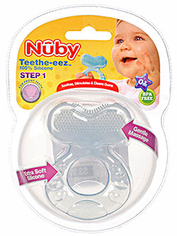 Teethe-eez Teether by Nuby in blue and green