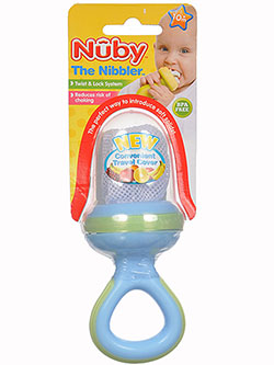 Nibbler Feeder by Nuby in blue, orange, pink and red