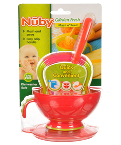 Garden Fresh Mash n' Feed by Nuby in fuchsia, lime, orange and turquoise
