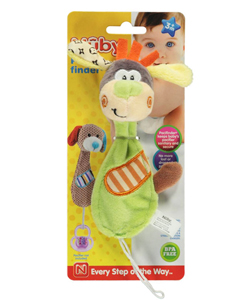 "Pacifinder ""Happy Giraffe"" Pacifier Clip by Nuby in Lime"