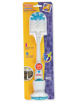 2-in-1 Bottle & Nipple Brush by Nuby in blue/white, fuchsia/white, gray/white, green/white and lime