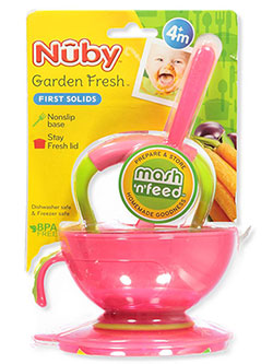 Mash N' Feed 4-Piece Set by Nuby in hot pink/lime, white/blue and white/green