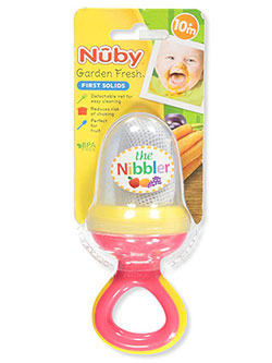 Nibbler Feeder with Travel Cover by Nuby in Pink/yellow