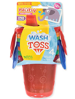 4-Pack Wash or Toss Sipper Cups by Nuby in Red multi