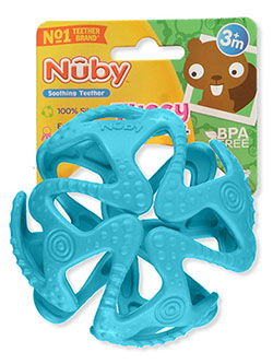 Tuggy Teething Ball Soothing Teether by Nuby in blue, pink and red