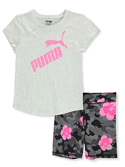 Glitter Logo 2-Piece Bike Shorts Set Outfit by Puma in White heather
