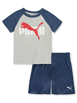 Boys' Logo 2-Piece Shorts Set Outfit by Puma in Light heather gray