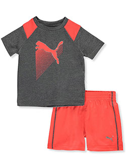 Baby Boys' Neon 2-Piece Shorts Set Outfit by Puma in charcoal heather and palace blue