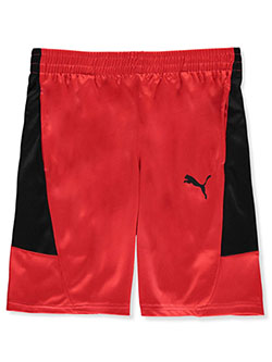 Boys' Mesh Panel Performance Shorts by Puma in Red