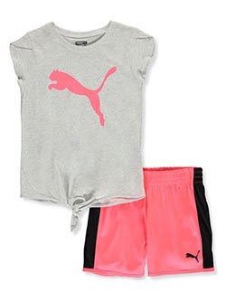 Color Block 2-Piece Shorts Set Outfit by Puma in White heather