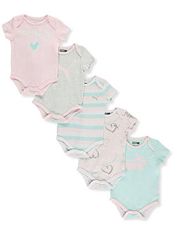 Baby Girls' 5-Pack Bodysuits by Puma in White heather - $14.99