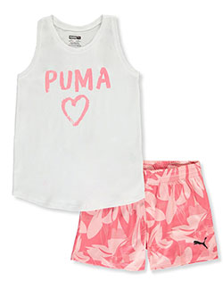 Girls' Glitter Logo 2-Piece Shorts Set Outfit by Puma in White, Girls Fashion