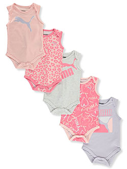 Baby Girls' 5-Pack Sleeveless Bodysuits by Puma in Bubble gum