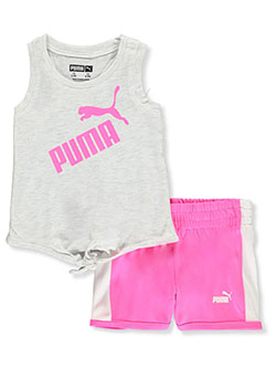 Baby Girls' Neon 2-Piece Shorts Set Outfit by Puma in White heather