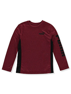 Boys' Logo Sleeve Long-Sleeved T-Shirt by Puma in Red