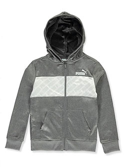 Boys' Logo Print Zip Hoodie by Puma in black and charcoal