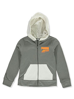 Boys' Stacked Logo Zip Hoodie by Puma in Gray - Hoodies