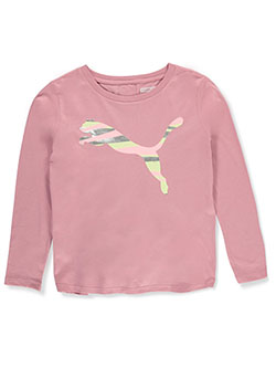 Girls' Tie-Dye Logo Gathered Back L/S Top by Puma in Multi