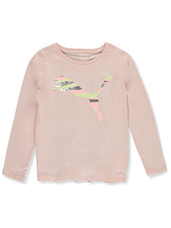 Girls' Patterned Logo Gathered Back L/S Top by Puma in Pink
