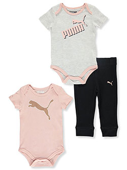 Double Bodysuits 3-Piece Layette Set by Puma in Pink, Infants