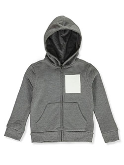 Boys' Box Logo Zip Hoodie by Puma in black and black/gray