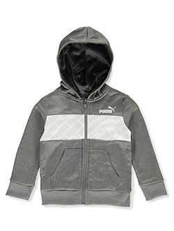Boys' Logo Print Trim Zip Hoodie by Puma in black and black/gray
