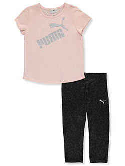 Glitter Logo 2-Piece Leggings Set Outfit by Puma in Pink
