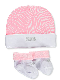 Squiggle Stripe 2-Piece Hat & Booties Combo by Puma in Pink/white