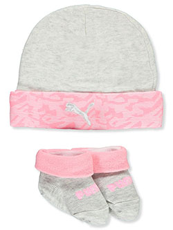 Camo Trim 2-Piece Hat & Booties Combo by Puma in Gray/pink