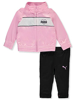 Stripe Logo 2-Piece Joggers Set Outfit by Puma in Pink, Infants
