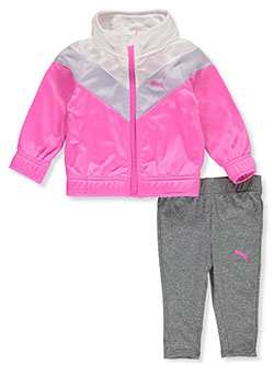 Angle Stripe 2-Piece Leggings Set Outfit by Puma in Pink - Active Sets