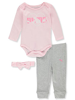 Baby Girls' Heart Logo 3-Piece Layette Set by Puma in Pink