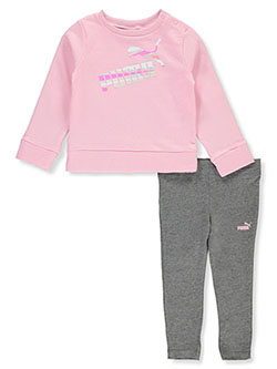 Stripe Logo 2-Piece Leggings Set Outfit by Puma in Pink - Active Sets